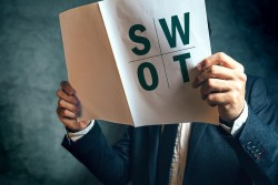 Man Reading Report SWOT